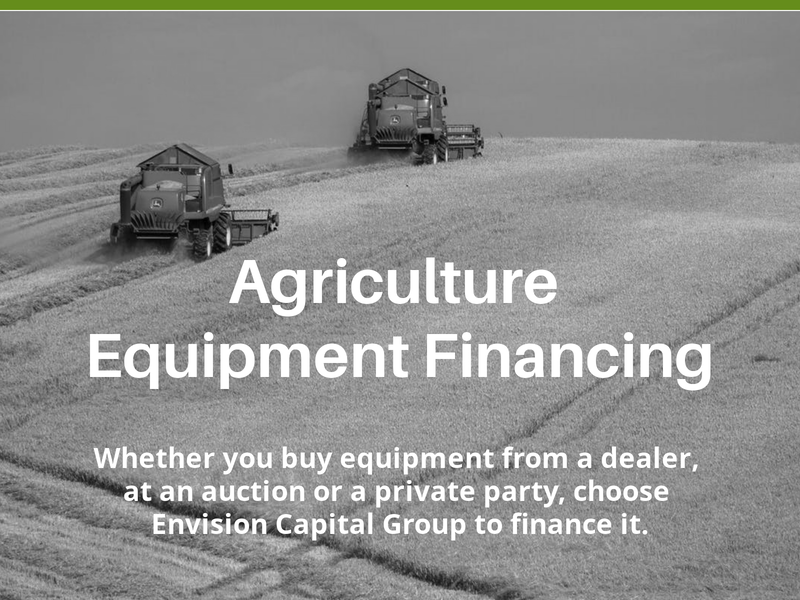 Agriculture Equipment Financing. Background image of Combine Harvesters in field.